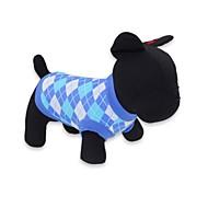 고양이 / 개 티셔츠 레드 / 블루 강아지 의류 여름 격자 무늬 / 체크 패션