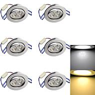 3W Verzonken lampen 3 Krachtige LED 280 lm Warm wit / Koel wit Decoratief AC 85-265 / AC 220-240 / AC 110-130 V 6 stuks