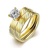 Pierścionki dla par Cyrkonia Cyrkon Cyrkonia Round Shape Modny Biżuteria Ślub Impreza Codzienny Casual 1set
