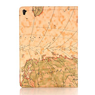 retro stílusú térkép nyomatok pu bőr felhajtható kemény fedél tabletta esetében ipad air3 / ipad pro mini okos állvány védőtok
