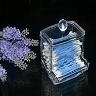 titular de armazenamento clara caixa de acrílico cotonete maquiagem caixa de armazenamento cosméticos mulheres