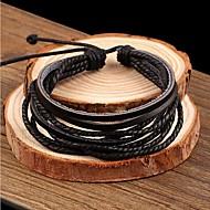 Hombre Pulseras charm Pulseras de cuero Piel Diseño Único Moda Estilo Simple Joyas Negro Joyas 1 pieza