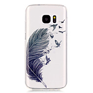 For Samsung Galaxy S7 Edge Transparent Mønster Etui Bagcover Etui Fjer Blødt TPU for S7 edge S7 S6 edge S6 S5