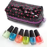 6PCS Noctilucent Jelly Glow Luminous Nail Polish Set Glow-in-dark with 1 Cosmetic Makeup Bag Pack(5.5ML *6PCS)