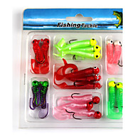"17pcs stk Kunstaas Zacht Aas Jigs Rooien Rood Kunstaas Donker Rood g/Ons,10/10/10 mm/1-3/4"" duim,Zacht Plastic Lood Metaal Siliconen"