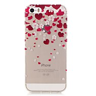 For iPhone 5 Case Ultra-thin / Transparent / Pattern Case Back Cover Case Heart Soft TPU iPhone SE/5s/5