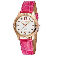 SYNOKE 女性用 ファッションウォッチ ダミー ダイアモンド 腕時計 カジュアルウォッチ クォーツ 日本産クォーツ レザー バンド レッド ピンク パープル