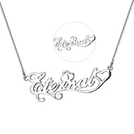 Personalized Gift Necklaces Unisex Silver Pendant (10 characters limited)