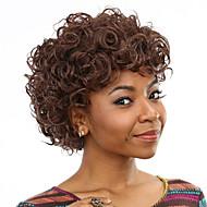 耐熱安い偽の髪のかつら短い巻き毛の茶色の合成かつら