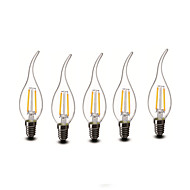 2W E14 Luzes de LED em Vela CA35 2 COB 200 lm Branco Quente Decorativa AC 220-240 V 5 pçs