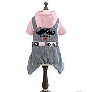 犬用品 パーカー ジャンプスーツ イエロー ピンク 犬用ウェア 冬 春/秋 縞柄 カジュアル/普段着