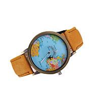 Heren Dress horloge Japanse quartz Vrijetijdshorloge / World Map Patroon Leer Band Zwart / Wit / Bruin / Meerkleurig Merk