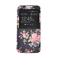 Voor Samsung Galaxy hoesje Kaarthouder / Portemonnee / met standaard / met venster / Flip hoesje Volledige behuizing hoesje Bloem PU-leer
