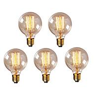 5 stk. G95 E27 40W Vintage Edison Pære Retro Lampe Glødepære (220-240V)