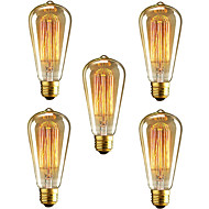 5pcs HRY® ST64 E27 40W Incandescent Vintage Edison Light Bulb For Restaurant Club Coffee Bars Light(220-240V)