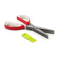 Minced Green Onion Five Stainless Steel Serrated Scissors Kitchen multilayer Parsley Vegetables Cut