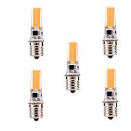 5W E17 Kohdevalaisimet T 1 COB 400-500 lm Lämmin valkoinen / Kylmä valkoinen Himmennettävä / Koristeltu AC 110-130 V 5 kpl