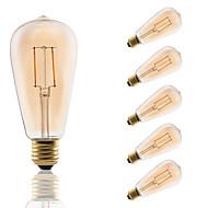2W E26/E27 LED-glødepærer ST64 2 COB 180 lm Ravgult Dekorativ AC 220-240 V 6 stk.