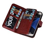 Varten Samsung Galaxy S7 Edge Lomapkko / Korttikotelo / Flip / Magneetti Etui Kokonaan peittävä Etui Yksivärinen Tekonahka SamsungS7 edge