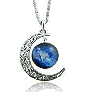 Dame Halskædevedhæng måne Ædelsten Glas Legering Unikt design Mode Galakse Europæisk kostume smykker Smykker Til Bryllup Fest Speciel