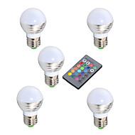 3W E14 / GU10 / E26/E27 Bombillas LED de Globo A50 1 LED de Alta Potencia 200 lm RGB Regulable / Control Remoto / Decorativa V 5 piezas