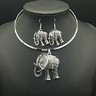 Ketting / Oorbellen Luxe Sieraden Gesimuleerde diamant Cirkelvorm Dierenvorm Olifant Zilver Kettingen Oorbellen Voor Dagelijks Causaal1