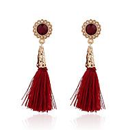 Kwasten Vintage Modieus Europees Parel Verguld Legering Ronde vorm Bloemvorm Rood Sieraden Voor Feest Dagelijks Causaal 1 paar