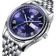 Herre Selskapsklokke Armbåndsur Kalender Vannavvisende Selvlysende Quartz Japansk Quartz Rustfritt stål Band Fritid Luxury Sølv