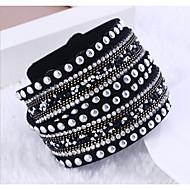 Heren Dames Voor Stel Tennis Armbanden Wikkelarmbanden Dubbele laag Punk-stijl Meerlaags Strass Nylon Kruisvorm Sieraden Voor Bruiloft
