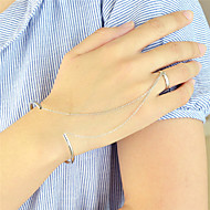 Silver Plated Cuff Bracelets with Chain Fingers Rings