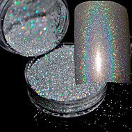 2g/Box Holographic Laser Powder Nail Glitter Rainbow Chrome Powder Metal Pigments Dust