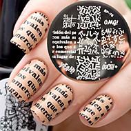 новорожденный довольно bp76 алфавит темой искусства ногтя плиты изображения шаблон конгрев