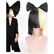 Απόκριες κόμμα σε απευθείας σύνδεση ΣΙΑ ζωντανή αυτή ενεργεί μισό μαύρο& ξανθιά μικρή περούκα με bowknot εξάρτημα κοστούμι cosplay