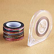 30 rolls 1 case Mixed Colors Rolls Striping Tape Line DIY Nail Art Sticker Nail Art Metallic yarns strips