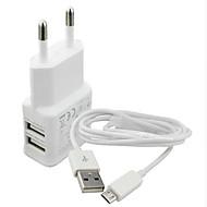 Opladerkit / Multi Ports Charger huis / Draagbare lader EUstralische stekker 2 USB-poorten met kabel voor Cellphone(5V , 2.1A)