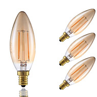 2W E12 LED Filament Bulbs B10 2 COB 160 lm Amber Dimmable / Decorative 120V 4 pcs
