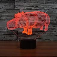 носорог коснитесь затемнением 3D LED свет ночи 7colorful украшения атмосфера новизны светильника освещения свет рождества