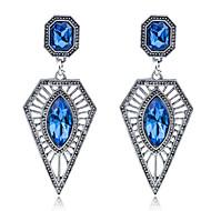 ドロップイヤリング ダイヤモンド ファッション 純銀製 ジェム 合金 トライアングル ブルー ジュエリー のために パーティー 日常 カジュアル 1ペア