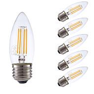 3.5W E26 LED Filament Bulbs B10 4 COB 350 lm Warm White Dimmable 120V 6 pcs