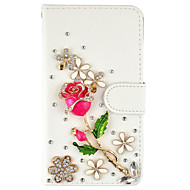 Diamond Crystal Jewel Rose PU Leather Case With Card Slots and Magnetic Closure For amsung Galaxy S7 Edge S7 S6 Edge Plus S5