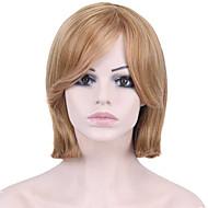 여성 인조 합성 가발 캡 없음 스트레이트 중간 브라운 / 딸기 금발 내츄럴 가발 의상 가발