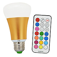 KWB 10W RGBWW E26/E27 LED Globe Bulbs A60(A19) 1 COB 900lm-1200lm lm Warm White / RGB Infrared Sensor / Dimmable / Remote-Controlled (85-265V)