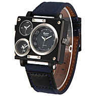 Oulm Men's Military Watch Wrist watch Three Time Zones Quartz Fabric Band Cool Casual White Blue Brown