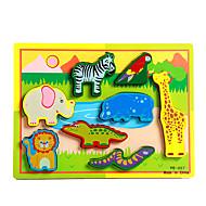 Jigsaw Puzzle Fejlesztő játék / Fejtörő Építőkockák DIY játékok Elefánt / Bika / Ló / Gyík / Krokodilbőr utánzat 8 Fa Szivárvány Hobbi