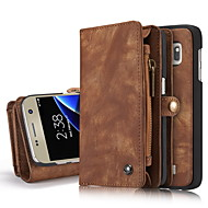 For Samsung Galaxy S7 edge S7 Case Cover  Genuine Leather Card Holder Wallet Case with Stand Flip Full Body Case Solid Color Hard