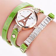 Xu™ 아가씨들 패션 시계 팔찌 시계 석영 PU 밴드 빈티지 캐쥬얼 블랙 화이트 블루 레드 오렌지 브라운 베이지 네이비