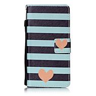 Voor huawei p8 lite p9 case cover gestreept liefde patroon schilderen kaart stent pu leer