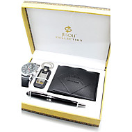 Set of 4 Men's Father Gift Leather Band Watch Jewelry Set with Wallet Purse Keychain Pen Gift Jewelrly Box