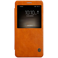 のために カードホルダー ウィンドウ付き オートオン/オフ フリップ ケース フルボディー ケース ソリッドカラー ハード PUレザー のために Huawei Huawei Mate 9