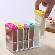 6 Spice Shaker Seasoning Bottle Jar Condiment Storage Container Kitchen Food Box